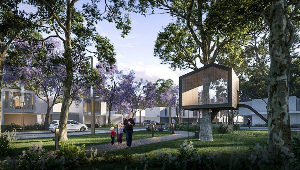 Parque con juegos ecológicos para niños en barrio Nuevo Malagueño. Tendencias de arquitectura.