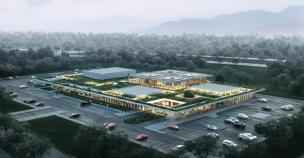 Renderización del proyecto de oficinas de Ankara. Vista aérea del edificio, con jardines en el techo. Biofilia.